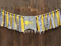 ingrosso decorazioni di colore grigio giallo-New Gray Grey Yellow Sun ONE Seggiolone Banner Sole Nuvola bianca Ghirlanda 1 ° Compleanno Decorazioni per le feste Cake Smash Flag