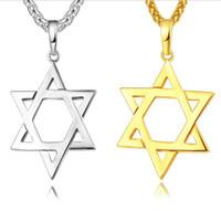 pingente de estrela judaica venda por atacado-Estrela de David Magen Pingente de Colar de Jóias Judaicas Mulheres Homens Cadeia 18 K Ouro / Black Gun Banhado A Aço Inoxidável Israel Presentes Colar R138