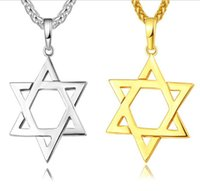 Wholesale gold jewish star necklace for sale - Group buy Star of David Magen Pendant Necklace Jewish Jewelry Women Men Chain K Gold Black Gun Plated Stainless Steel Israel Necklace Gifts R138
