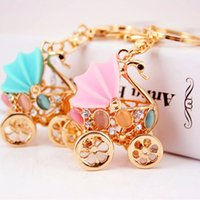 Wholesale Rhinestone Carriage - free shipping lovely rhinestone baby carriage keychain keyring wedding baby shower birthday party favors souvenirs wen5781