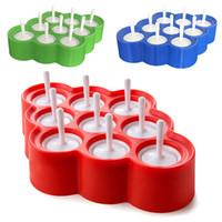 ingrosso stampo per la sfera di ghiaccio-Silicone Mini Ice Pops Muffa Gelato Palla Lolly Maker Popsicle Stampi Con 9 Adesivi Gelato Strumento Cucina Accessori WX9-460