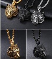 tiger anhänger gold silber großhandel-3 Farben Mode Tiger Halskette Anhänger 18 Karat Gold versilbert Street Dance Halsketten Anhänger Schmuck Tigerkopf Geschenk Hip Hop