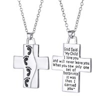 Wholesale jesus cross charms - 2018 Foot Jesus Cross Necklace Letters My Child I Love You Pendant Fashion Jewelry Gift for Women Kids 162593