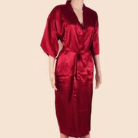 ingrosso uomini di seta rossa-Vendita calda rosso cinese uomini accappatoio kimono bagno abito in seta sintetica yukata camicia da notte taglia m l xl xxl xxxl spedizione gratuita