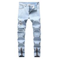 zerrissenen geflickten jeans großhandel-Mode Hip Hop Patch Männer Retro Jeans Knie Rap Loch Zipper Biker Jeans Männer Lose Schlank Zerstört Zerrissene Denim Mann Jeans J180714