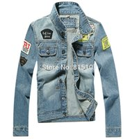 Wholesale Denim Jacket Vest Sleeves - New Arrival Men Jean Jacket With Patches And Blue Color Denim Jacket Men Cotton Slim Fit Mens Jackets And Coats 1807
