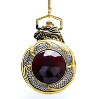 men dragon pendant 2018 - Evil Dragon Luxury Pocket Watch Gold Case Red Garnet Inset Women Black Dial Full Hunter New Men Pendant FOB Watch