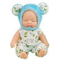 Wholesale fantasy statues - EMS Newborn Silicone Sleeping Baby Pendant 4.6in. Plush Animals Pajamas Stuffed Sleeping Baby Doll Keyring Keychain for Kids Friends