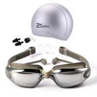 Wholesale Hd One - Myopia Swimming Goggles Caps Eeywear HD Shortsighted Swimming Glasses Diopter Spectacles Plating lens Swim Pool Use Accessories 3pcs set