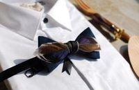 laços formais para homens venda por atacado-Moda personalidade pena bow tie formal dos homens gravata borboleta frete grátis