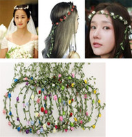 Wholesale hawaii wreath - Wedding bridal girl head flower crown rattan garland Hawaii flower head wreath bohemian Bohemian Headbands TO432