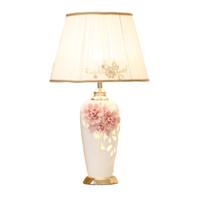 Wholesale modern girl bedding online - China ceramic table lamp Pink Flower Cloth Desk lamp For Boy Girl bedroom wedding Children room modern Home lighting G573