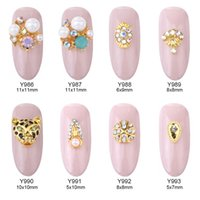 Wholesale 3d Nail Stickers Metal - 50pcs glitter nail art 3d jewelry decorations leopard design nail rhinestones gold metal charms nails accessory stickers supplies Y986~993