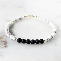 Wholesale marble beads wholesale - 12pcs lot Howlite & Lava Bead Essential Oil Diffuser Bracelet Marble White turquoise