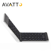Wholesale ipad mini folding keyboard - [AVATTO] Gift Stand Aluminum Alloy Pocket Folding Mini Keyboard with Bluetooth Wireless Keypad for ios android phone,Tablet,ipad