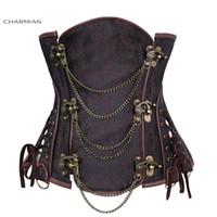 Wholesale black brocade corset - Women's Vintage Gothic Steampunk Corset Sexy Brocade Steel Boned Underbust Corset Bustier With Chains Waist Cincher