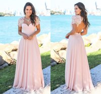 Wholesale long sleeve beach wedding dresses - Blush Country Bridesmaid Dresses Scoop Hollow Back Lace Top Sweep Train Chiffon Beach Garden Wedding Guest Gowns Maid Of Honor Dress