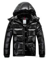 ceket furring erkekler toptan satış-Marka Yeni Erkek Kadın Rahat Aşağı Ceket MAYA Aşağı Palto Mens Açık kürk Yaka Sıcak Tüy elbise Adam Kış Ceket dış giyim Ceketler Parkas