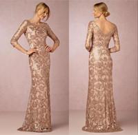 brautkleid rose großhandel-Rose Gold Mutter der Braut-Kleid-Ausschnitt Langarm Vintage Spitze-Schleife-Zug-formalen Abend-Partei-Abnutzung