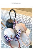 Wholesale white small lanterns resale online - Small bag Korean fashion lock creative new small round bag hit color silk scarf portable lanterns handbags