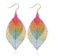 anzuelos antiguos al por mayor-Vintage 2 Layer Leaf Pendientes 2 Metal Color Dangle Leaf Tassel Earrings Drop Fish Hook Araña Pendientes