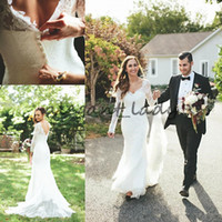 Wholesale wedding dress illusion back v neckline for sale - Ethearal Mermaid Trumpet bridal gown Lace Sheer Illusion Long Sleeves V Neckline Court Train country bohemian Wedding Dresses