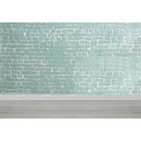 stützmauer großhandel-Light Green Brick Wall Fotografie Kulissen Holzboden Neugeborenen Baby Shower Requisiten Kinder Kinder Hochzeit Fotostudio Hintergründe