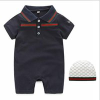 Wholesale suits 3m - 2019new summer short sleeved baby joint Hayi fashion Lapel baby joint crawling full moon suit 3M-24Mcm
