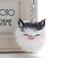 искусственного меха мяч брелок оптовых-Big Faux 8*12CM Cute Kitten Cat Fur PomPom KeyChain  Hair Bulb Bag Pom Pom Ball Key Chain Pendant Porte Clef For Women