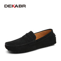 Wholesale soft driving shoes resale online - Fashion Brand Fashion Summer Style Soft Moccasins Men Loafers High Quality Genuine Leather Shoes Men Flats Gommino Driving Shoes