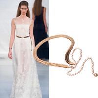 ingrosso cinture di vita in metallo per le donne-2017 Cinture donna Golden Color Metal Belt Donna Ladies Snake Bones Chain Waist Strap Trendy Body Chain Cinturones Mujer #OR