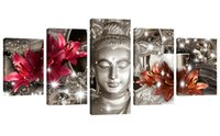 Wholesale painting wall orange - 5 Panels Buddha Picture Red and Orange Lily Flower Background Printed Abstract Canvas Painting Wall Art for Home Decor Stretched Framed