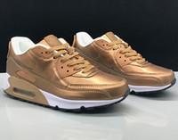обувь для амортизаторов оптовых-Nike Air Max 90 shoes for men мужские женские max 90 кроссовки воздушной подушке открытый кроссовки обувь желтый амортизирующие нескользящей упаковки тепло