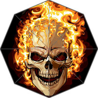 Wholesale Originals Umbrellas - Original Personalized Cool Art Skull on Flaming Auto Foldable Umbrella
