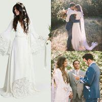Wholesale bell line wedding dress resale online - Hot Designer Boho Beach Wedding Dresses Cheap Bohemian Long Bell Sleeve Lace Bridal Gown Plus Size Hippie V Neck Chiffon Vestido De Noiva