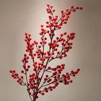 ingrosso fiori decorativi rossi-90cm Pe Berry Red Fruit Plant Bacche Fiore artificiale Rami di ciliegio rosso Fiore Decorativo natalizio