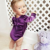 Wholesale Purple Dancers - 2018 Ins Hot Sale Baby Girl Spring Autumn Velvet Climb Rompers Infant Toddlers Bowknot Pleuche Dancer Bodysuit 4 Colors