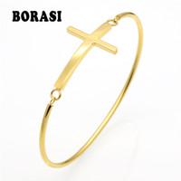Wholesale Cross Bracelet Sideways - whole saleFashion Gold Sideways Cross Faith Christian Stainless Steel Cross Bracelet Simple Tiny Small Horizontal Bracelets