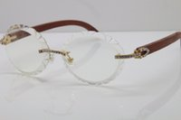 Wholesale wooden eyeglass frames for men resale online - fashion sunglasses for men unisex T8200761 Gold Decor Wood frame Glasses High quality New fashion vintage C Decoration Eyeglasses