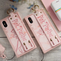 Wholesale panther cover - Lovely Pink Panther Phone Cover for IPhone X 8 7 6s Plus with Wristband Wrist Strap Shell for IPhoneX Back Cover