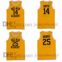ingrosso aria di banca-Bel Air Academy Retro 14 Will Smith Jersey 25 Carlton Banks 100% cucita ricamo giallo Pullover di pallacanestro Camicie