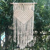liebe handgefertigt großhandel-Handgemachte strickende böhmische Tapisserie Liebes-Herz-Muster-Tapisserien für Hauptwand-hängende Dekoration liefert heißen Verkauf