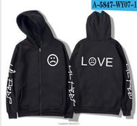 zipper branco cinza hoodie venda por atacado-Homens Letra Impressa Lil Peep Moletom Com Zíper Pulôver de Manga Longa Moda Preto Cinza Branco Moletons