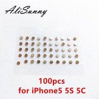 düğme ayırıcısı toptan satış-AliSunny için 100 adet Güç Ses Düğmesi Metal Spacer 5 5 S 5C 5G Shim Yedek Parçaları