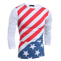 модные футболки с длинными рукавами оптовых-Новый американский флаг футболка мужчины Сексуальная 3D печати О-образным вырезом футболка тонкий мода полосатый флаг США с длинным рукавом футболка повседневная топы тис Бесплатная доставка