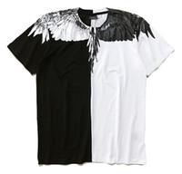 camisas de hombres estilos de italia al por mayor-Marcelo Burlon camiseta Italia condado de Milán ala de la pluma camisetas de los hombres de moda de 2018 mujeres verano ocasional del estilo camiseta de alta calidad