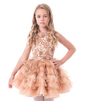 Wholesale beauty pageants online - Beauty Champagne Tulle Lace Beads Short Flower Girl Dresses Girls Pageant Dresses Holidays Birthday Dress Skirt Custom Size DF710342