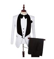 bir düğme uygun toptan satış-Groomsmen Şal Yaka Damat Smokin Erkek Takım Elbise Düğün Adam Blazer Bir Düğme Suits (Blazers + Pantolon + Papyon + yelek)