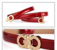 hebillas de cinturón vestidos al por mayor-Moda de verano Mujeres Cinturones de Lujo Mujer de Charol Diseñador Delgado Vestido de Las Señoras Cinturones de Cintura con Hebilla de oro rosa