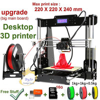 Wholesale commercial color printers - New Upgrade desktop 3D Printer Prusa i5 Size 220*220*240 mm Acrylic Frame LCD 2.5Kg Filament 16G TF Card for gift Big main board 3D Printers